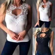 Womens Sleeveless Lace Vest Summer Perspective Casual Solid Loose Tank Sexy Top
