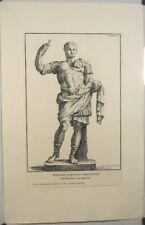 Eau forte XVIIIe d'Aquila,Statue de l'Empereur Domitien