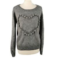 Numph Size L 12 Grey Round Neck Love Heart Wool Blend Jumper Womens