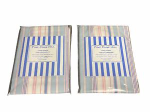 Pine Cone Hill NEW Set of 2 Pink Blue Cape Stripe King Shams SCCDSHK