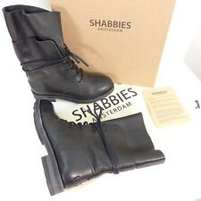SHABBIES Boots Stiefel Gr. DE 38 Damen Schuhe Schwarz Echt Leder Schnürstiefel S