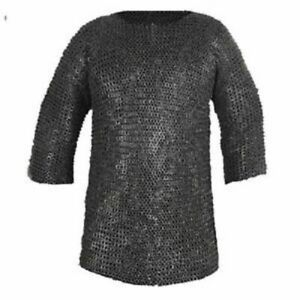 Medieval Armor Chain Mail Shirt 7 mm Wedge Riveted Hauberk Mild Steel Chainmail