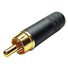 Switchcraft 3502ABAU  Long Body Cable End RCA Male Black/Gold w/Solder Terminals