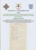 IRELAND V BRITISH ARMY 1944 VERY RARE ORIGINAL HAND SIGNED PAGE 27 X SIGNATURES