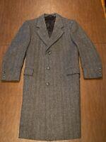 HART SCHAFFNER & MARX 42-Short Gray Herringbone 100% Wool Long Coat Overcoat