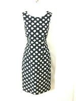 Hobbs Navy/White Floral Silk Blend Special Occasion Shift Dress Uk 8