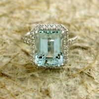 2.15 Ct Emerald Cut Aquamarine halo Engagement Ring 14K White Gold Over All Size