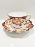 ROSINA Bone China Made in England Tea Cup & Saucer Set Cobalt Rust Flowers 4820