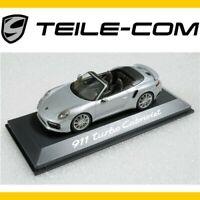 ORIG. Porsche 911 991 II Turbo Cabrio Rhodiumsilber Met. Modellauto Maßstab 1:43