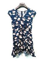 J Crew Mercantile Size 2 XS Blue Red Floral Faux Wrap Mini Dress Sleeveless V