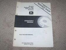 "John Deere Used 30"" Hydraulic Tiller (420 & 430 Tractors) Operators Manual B19"
