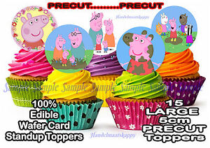 Pepper Pig Edible Rice Wafer Card PRECUT 5cm Birthday Party Cake Cupcake Toppers