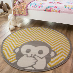 Mustard Yellow Kids Mat   Cheap Round Nursery Rug   Cheeky Monkey Bedroom Rugs