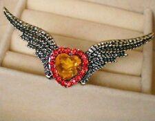 Cœur Aile xxlgroßer ANNEAU vintage ange or ancien coloré ailes d'ange variable