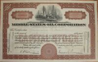 1921 Stock Certificate - Middle States Oil Corporation'