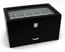 Heiden Premier Black Leather Watch Box Display Wood Case 20 Watches with Drawer