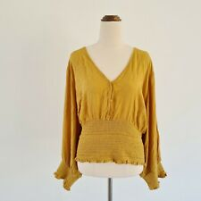 City Chic BNWT Plus Size 22 XL Mustard Yellow Shirred Boho Peasant Cropped Top