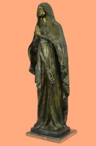 Our Lady Virgin Mary Madonna Praying Folded Hands Heavy Bronze Statue 81 CM Sale