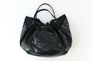 Chanel Large Black Patent Leather Bucket Bag