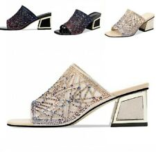 Women Rhinestones Decor Hollow Slippers Slingbacks High Block Heel Shoes Stylish