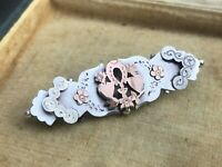 Antique Sweetheart Bar Brooch Victorian Sterling Silver Birmingham 1894 Heart