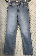 St. Johns Bay Stretch Flare Jeans Medium Wash Distressed Denim Size 6 Casual