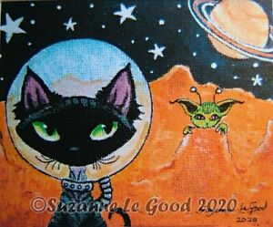 Devon Rex Cat art print Mars from original painting mounted by Suzanne Le Good