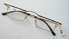 R+H Balkenbrille Metallgestell Brille schwarz-gold kleine schmale Gläser size L