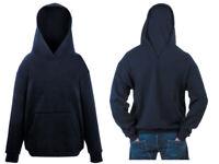 Felpa FRUIT OF THE LOOM Unique hoodie nera neutra effetto cappuccio 9 11 anni