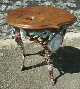 Antique cast iron PUB TABLE wooden mahogany shaped top with dominoes box Unusual