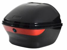 Gloss Black Motorcycle Scooter Hard Tail Box Trunk Lock Top Case With Backrest