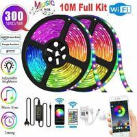 WIFI LED Strip Light RGB 10M 3528 12V Kits Smart Home App for Alexa Google Home