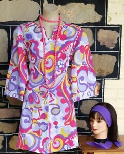 Bell Sleeved dress, 1970's, polyester, pink pop art print, with beads & Heads...