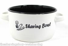 Ceramic Shaving Bowl- White & Black with Handles