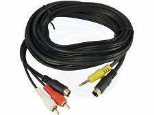 4 Pin S-Video 3.5mm Audio Video S-Video 2 RCA Cable For PC TV 10FT 3M