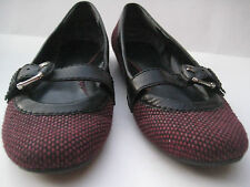 NINE WEST TWEED FABRIC PUMPS BUCKLED STRAP ACROSS Sz 7.5 GREAT CONDITION SLIP IN