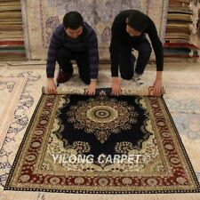 Yilong 4'x6' Floral Hand Knotted Silk Area Rug Living Room Handmade Carpet 873B