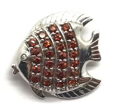 Sterling Silver 925 Channel Set Red Garnet Pave - CZ Eye Fish Textured Pendant