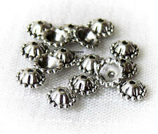 Fancy Cones Antiqued Silver Beads Caps 8mm 20 Pcs