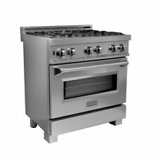 "Zline 30"" Dual Fuel Range Oven Gas Electric Snow Finish Stainless Ras-Sn-30"