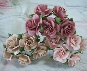 10X Mulberry paper Roses Flowers 2.5cm Varied Colours Card making Crafts