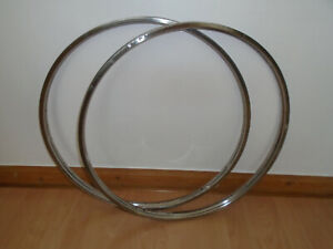 Vintage 1958 Raleigh stainless steel front & rear bicycle rims 26x1.3/8
