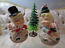 Vintage Christmas Snowball Kissing Couple Bells