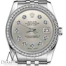 Unisex Rolex 36mm Datejust Stainless Steel Silver Color Diamond Dial Watch