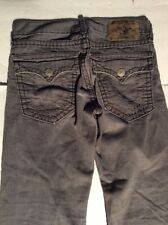 TRUE RELIGION RICKY SUPER T DISTRESSED BOOT CUT JEANS GRAY 35  x 34 1/2 aa-21