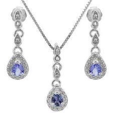 0.36 CT GENUINE TANZANITE& GENUINE DIAMOND PLATINUM OVER 925 STERLING SILVER SET