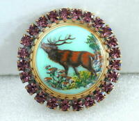 Vintage Style Czech ALL Glass Rhinestone Pin Brooch #T147 - DEER/MOOSE - SIGNED