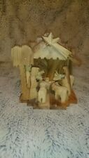 Vintage Wooden Hand Craved Nativity Scene jesus bethelhem Christmas decoration