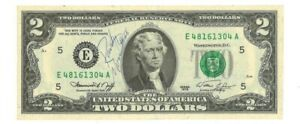 Randy Moss Autographed Two Dollar Bill - Pizza Delivery Tip - JSA Certified