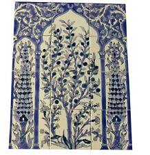 Handbemalte Fliesen Fliesenbild Italia Motiv BLau weiss Mosaikbild 45x60 Fayance